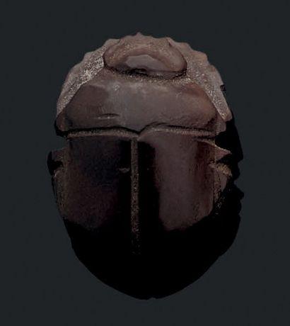 Scarabée bouton de type naturaliste. Hématite....