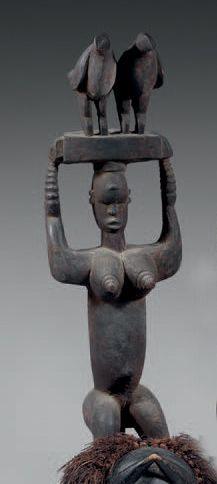 Igbo. (Nigéria). Ancien cimier «Ogbom» sculpté...