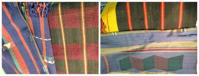 Quatre pagnes en coton, Nagaland, XXe siècle....