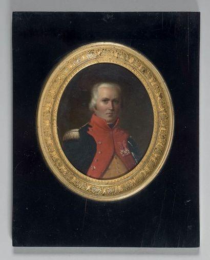 Grande miniature ovale sur toile: Portrait...