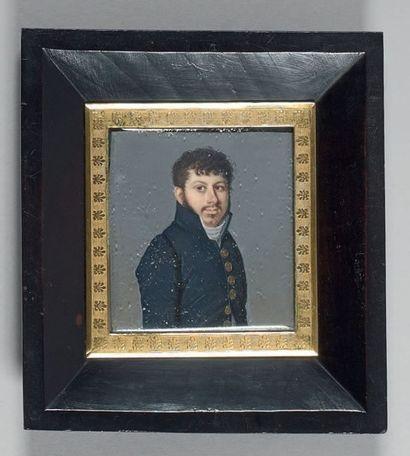Miniature rectangulaire sur ivoire: Portrait...