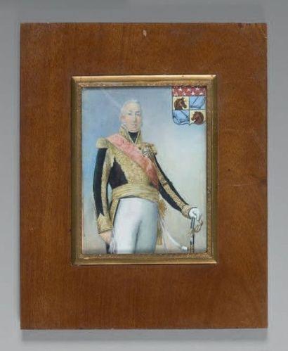 Grande miniature rectangulaire sur ivoire:...