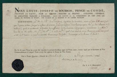 Émigration: Certificat de services par Louis...