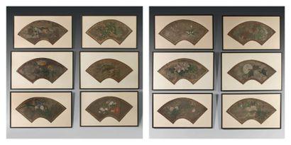 Douze projets d'éventails à décor japonisant...