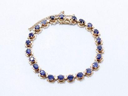 Bracelet ligne en or 585 millièmes, composé...