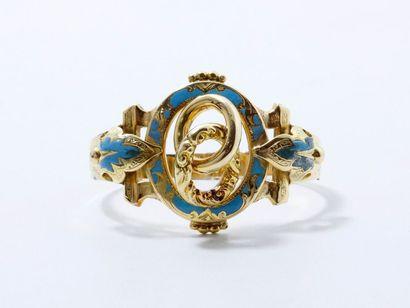 Bracelet articulé en or estampé 750 millièmes...