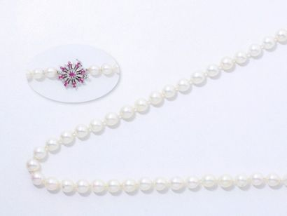 Sautoir composé d'un rang de perles de culture...
