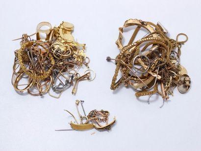 Lot d'or 750 et 585 millièmes à la casse....