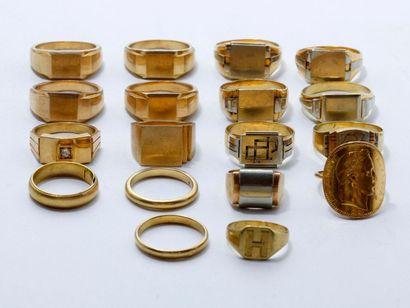 Lot en or 750 et 585 millièmes, composé de...