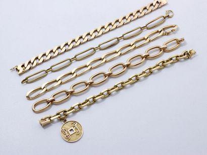 Lot en or 750 millièmes, composé de 5 bracelets...