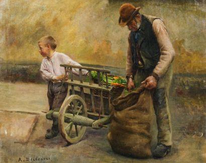 Auguste DELECLUSE (1855-1928) Scènes paysannes Paire d'huiles sur toile, l'une signée...