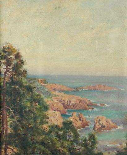 Jules Alexis MUENIER (1863-1942) Rochers rouges en Provence (Agar) Huile sur toile,...