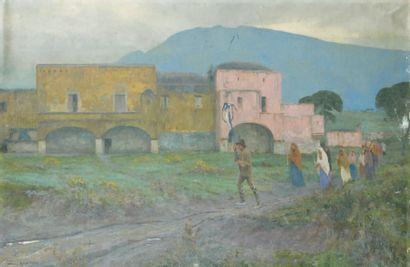 Maurice REALLIER-DUMAS (1860-1928) Procession Huile sur toile, signée en bas à gauche,...