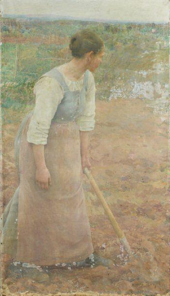 Henri ROYER (1869-1938) Aux champs (Etude préparatoire) Huile sur toile, signée en...