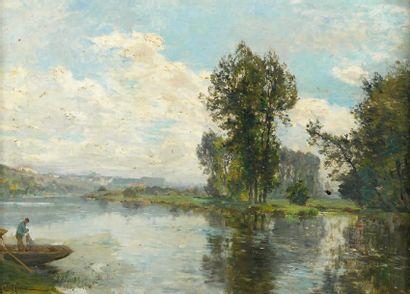 Edmond PETITJEAN (1844-1925) La Moselle près de Charmes dans les Vosges Huile sur...