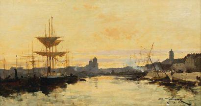 Eugène Galien Laloue dit GALIANY (1854-1941) Bateaux à quais Huile sur bois, signée...