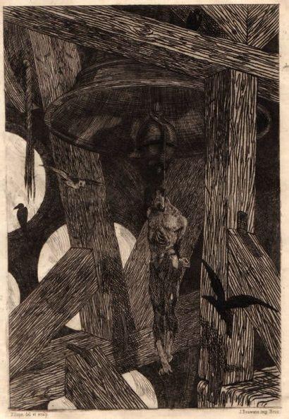 Félicien ROPS (1833-1898) Le Pendu à la cloche. Eau-forte. 160 x 237. Rouir 860....