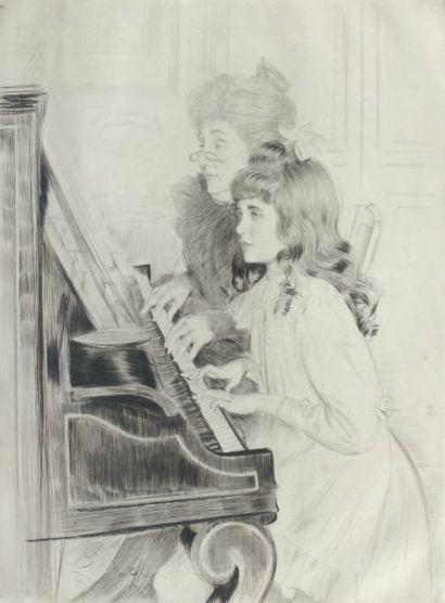 PAUL HELLEU (1859-1927) La leçon de piano. 39,8 x 29,5 cm. Pointe sèche. Epreuve...
