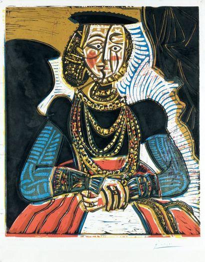 PABLO PICASSO (1881-1973) Buste de femme d'après Cranach Le Jeune. 1958 (Bloch 859...