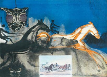 SALVADOR DALI (1904-1989) American trotting horses n° 2. Planche de la série des...