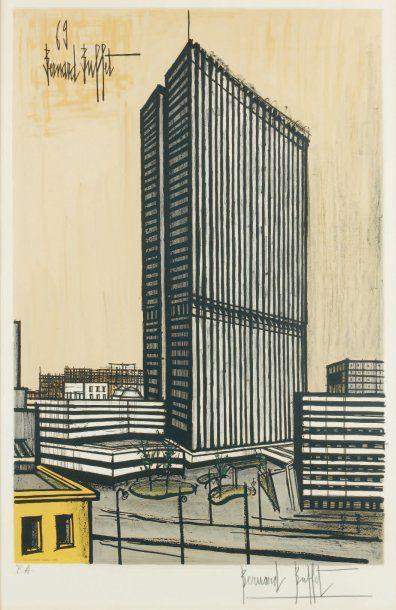BERNARD BUFFET d'après Ojima building. 1969 Lithographie en couleurs réalisée par...