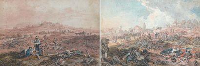 Deux dessins aquarellés : après la bataille...