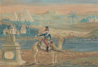Dessin aquarellé et gouaché : soldat du régiment...