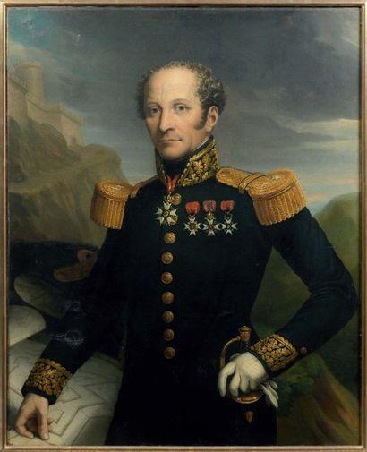 Huile sur toile : portrait du général du...