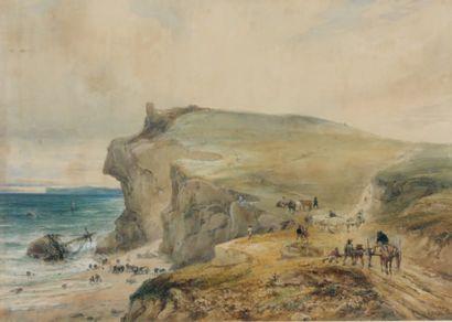 Théodore GUDIN (Paris 1802 - Boulogne sur Seine 1880) Scène de naufrage Aquarelle,...