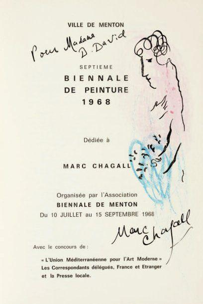 [CHAGALL (Marc)]. Ville de Menton. Septième Biennale de peinture 1968 dédiée à Marc...