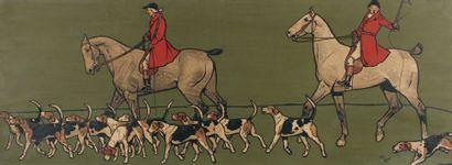 Cecil ALDIN Veneurs et meute Grande gravure en couleur encadrée Dim. 36,5 x 100 ...
