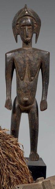 BAMANA (Mali) Grande statuette féminine debout...