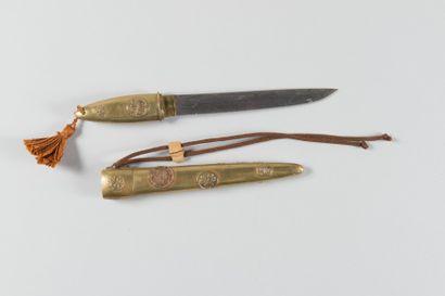 Couteau japonais en laiton avec reste de...