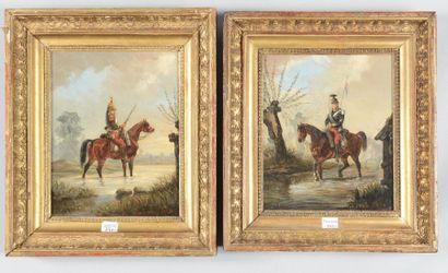 """Émile Bujon, paire d'huiles sur toile signées et datées en bas à droite: """"Émile..."""