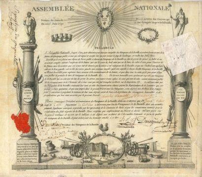 BASTILLE BREVET DE VAINQUEUR DE LA BASTILLE, 19 juin 1790; vélin oblong in-fol....