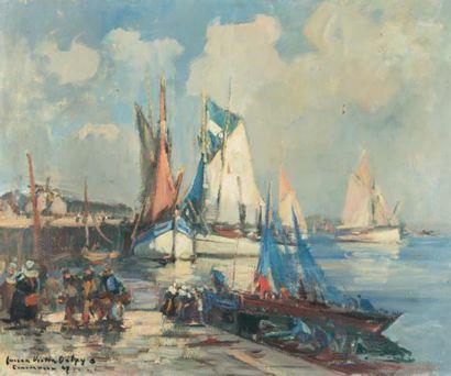 Lucien-Victor DELPY (1898-1967) Concarneau, départ pour la pêche à l'avant-port,...