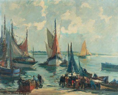Lucien-Victor DELPY (1898-1967) Retour de pêche à l'arrière-port de Concarneau, vers...