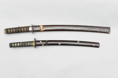 Ensemble de 2 WAKIZASHI Lame de 38,6 cm,...