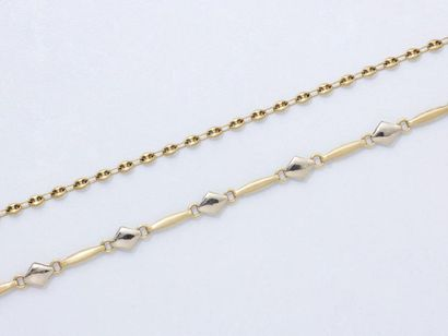 Lot en or 750 millièmes, composé de 2 bracelets,...