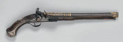 Grand pistolet à silex, pour l'export vers les pays arabes, canon légèrement tromblonné,...