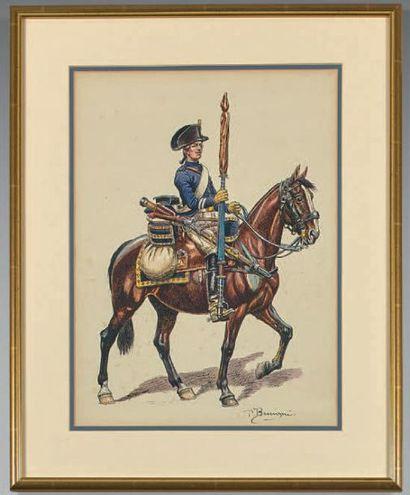 Cavalier porte-étendard, vers 1780, signé...
