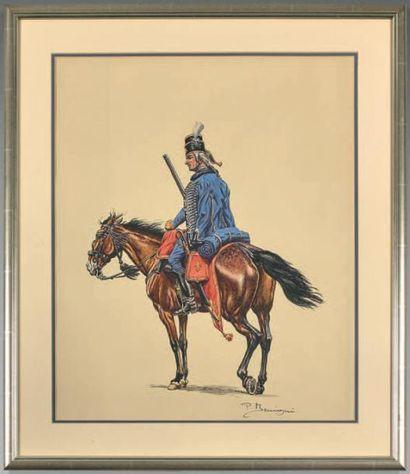 Hussard de Rougrave, 1747 En vedette (régiment...