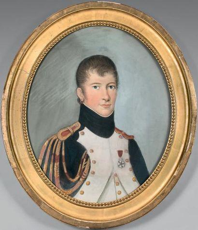 Pastel ovale: Portrait en buste d'un jeune...