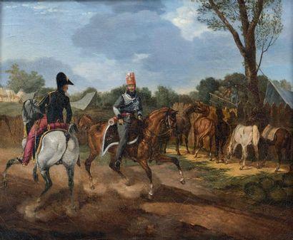 Deux cavaliers près d'un campement, un officier...