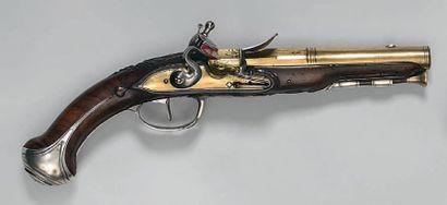 Pistolet à silex d'officier de marine, canon en laiton à deux registres, à pans...