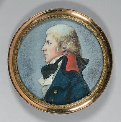 Miniature ronde sur vélin: Portrait d'un...