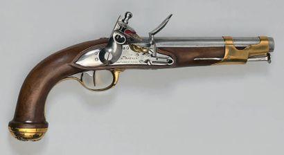 Pistolet à silex de garde du corps du Roi deuxième modèle 1816, canon rond à pans...
