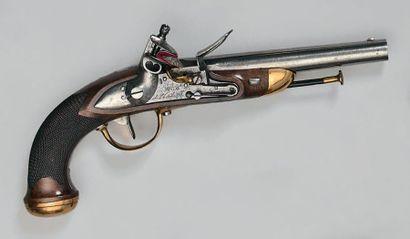 Pistolet à silex d'officier modèle 1816/1822, canon à pans puis rond poli blanc...