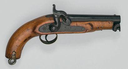 Pistolet à percussion de marine ou de garde côtes modèle 1842, canon poinçonné et...