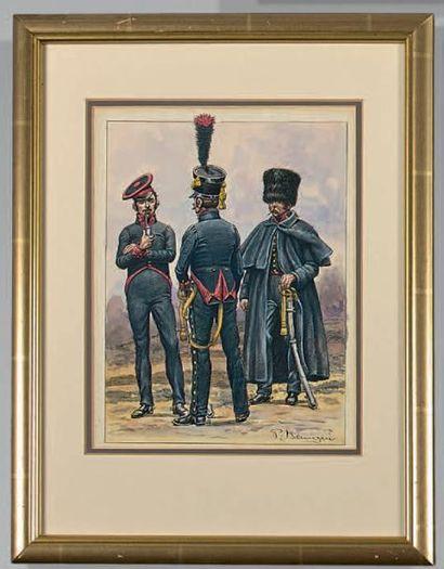 Chevau-légers d'Aremberg, cavaliers en tenue...